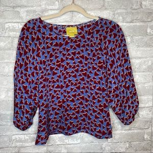 Anthro Maeve Silk Short Sleeve Heart Blouse XS